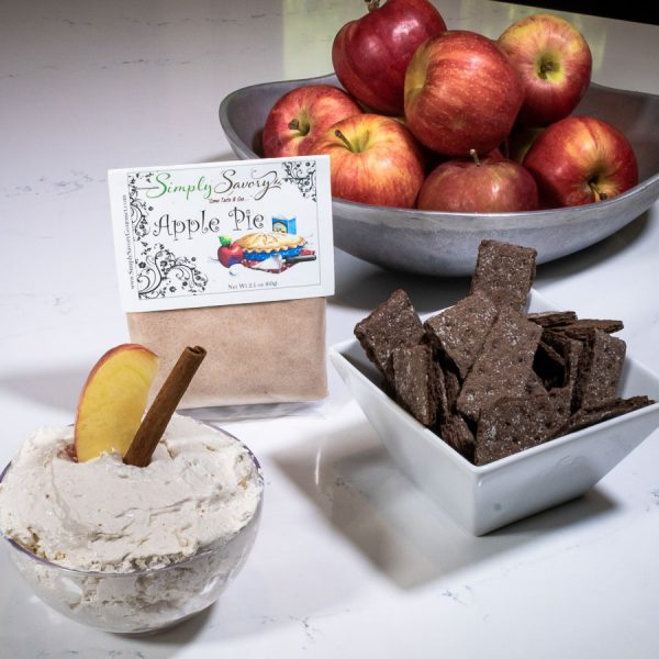 Apple Pie Dessert Mix prepared as a dip with chocolate graham crackers