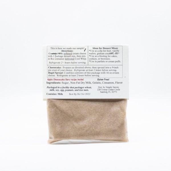 Apple Pie Dessert Mix Packet - back