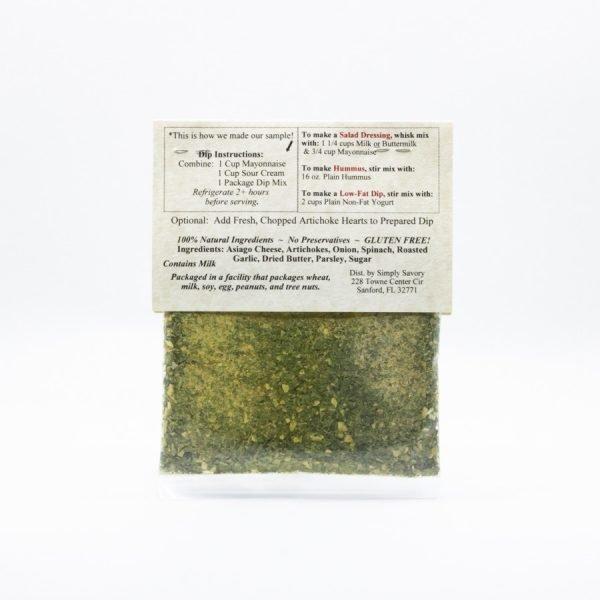 Asiago Artichoke Dip Mix Packet - back