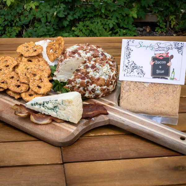 Bacon and Blue Dip Mix prepared as a cheeseball with pretzel thins