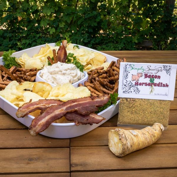 Bacon Horseradish Dip Mix prepared with chips and pretzels