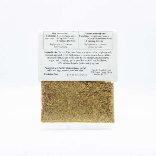 Bacon Horseradish Dip Mix Packet - Back