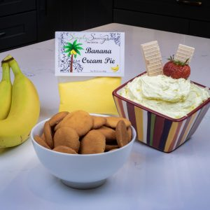 Banana Cream Pie Dessert Dip served with Vanilla Wafers