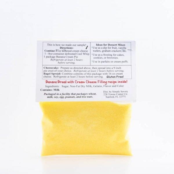 Banana Cream Pie Dessert Mix Packet - Back