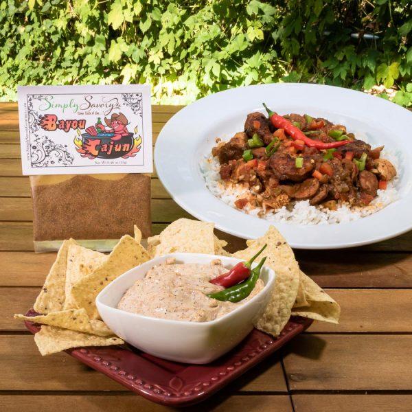 Bayou Cajun Dip Mix Prepared as Jambalaya and a dip with chips