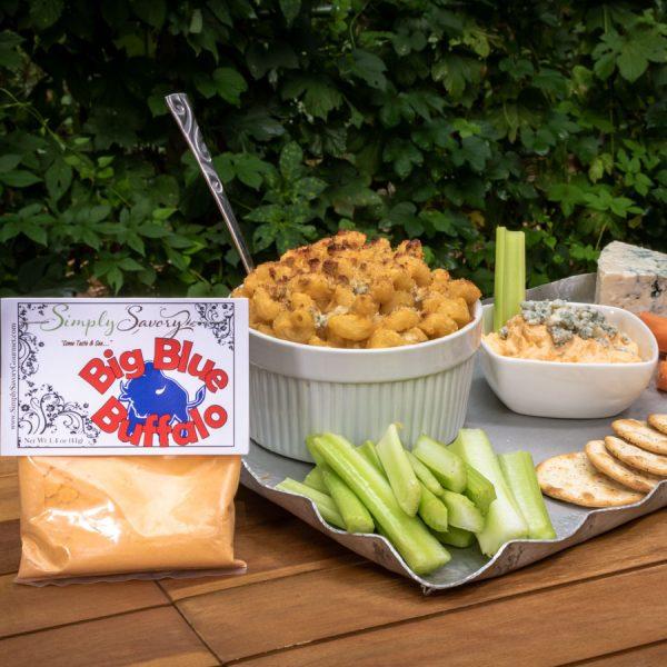 Big Blue Buffalo Dip prepared as a mac and cheese