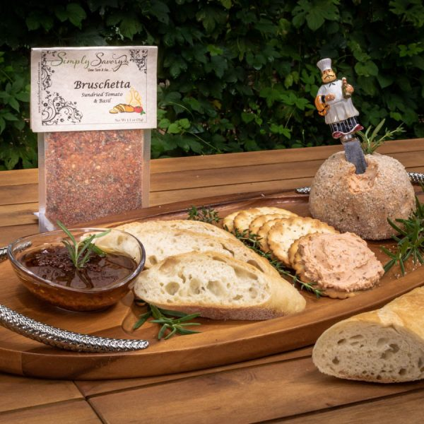 Bruschetta Olive Oil Dip Mix Prepared as a Cheese ball and bread dip