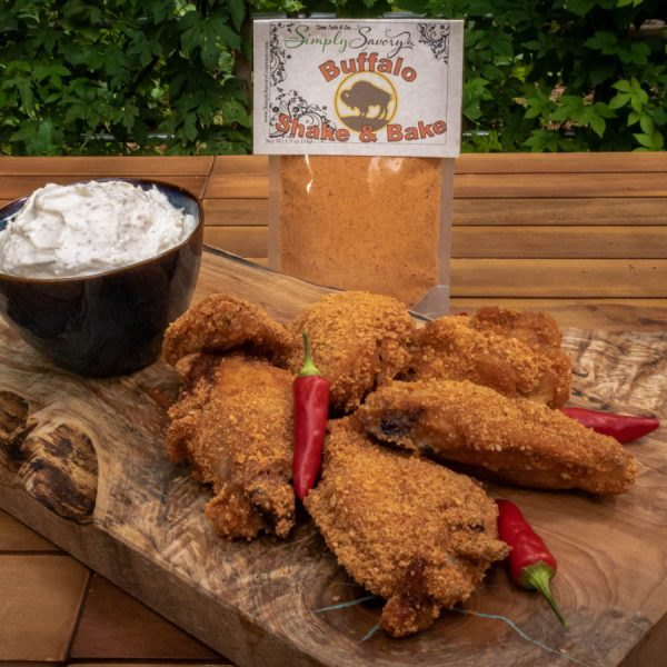 Buffalo Shake & Bake Seasoning prepared on wings