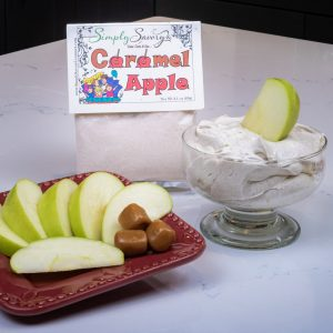 Caramel Apple Dessert Mix prepared as a dip with apples