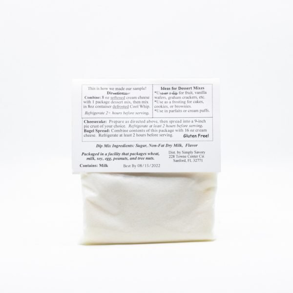 Celebration Cheesecake Dessert Mix Packet - Back