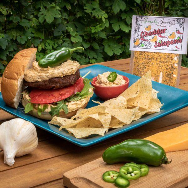 Cheddar Jalapeno Dip Prepared as a burger spread