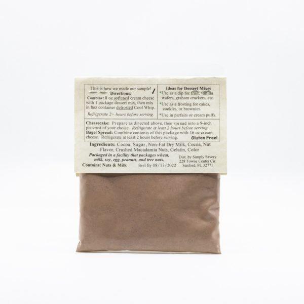 Chocolate Macadamia Nut Cheesecake Dessert Mix packet - back