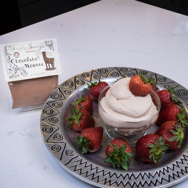 Chocolate Mousse Dessert Mix prepared as a dip with strawberries