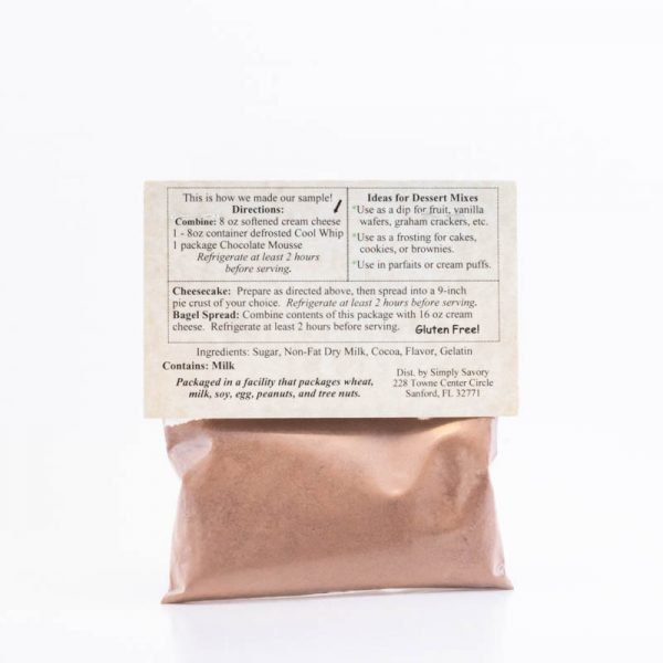 Chocolate Mousse Dessert Mix Packet - Back