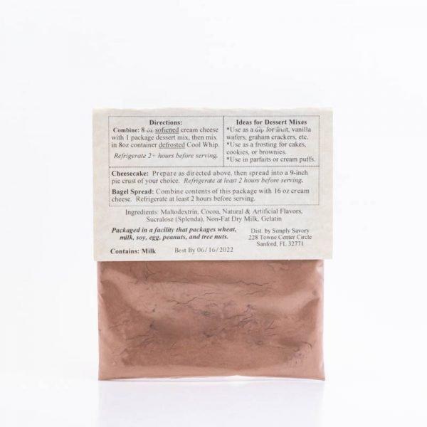Sugar Free Chocolate Mousse Dessert Mix Packet - Back