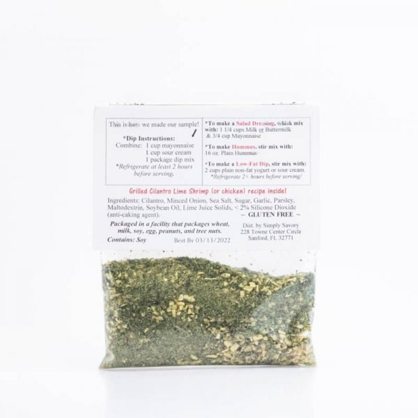 Cilantro Lime Ranch Dip Mix Packet - Back