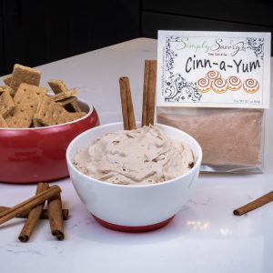Cinn-a-Yum Dessert Mix prepared as a dip with graham crackers