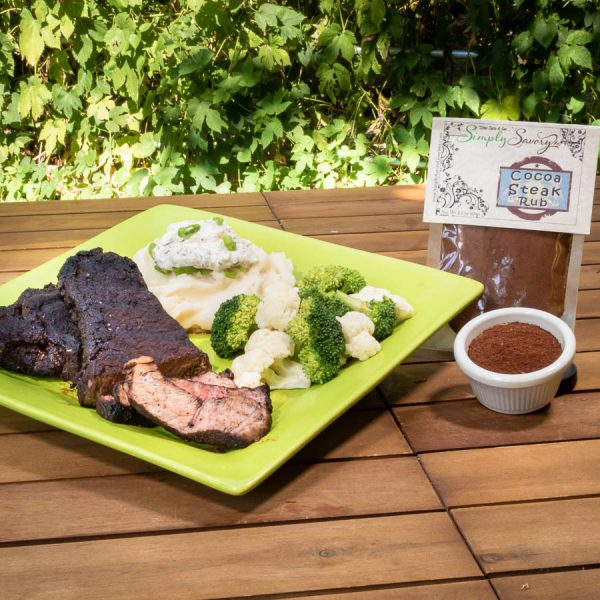 Cocoa Steak Rub Seasoning on steak
