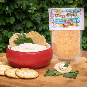 Crazy Good Crab Dip Mix prepared with crackers