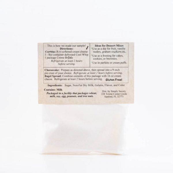 Creme Brulee Dessert Mix Packet - Back