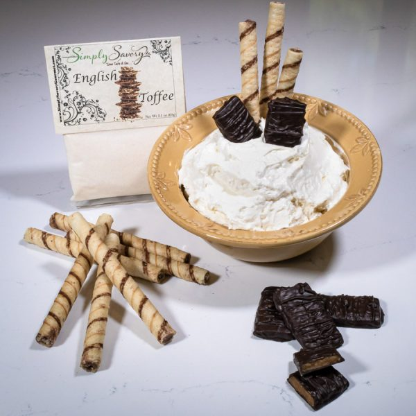 English Toffee Dessert Mix Dip with cookie straws