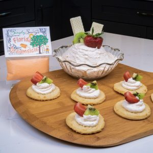 Florida Dreamsicle Dessert Mix prepared on sugar cookies with fruit