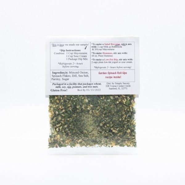 Garden Spinach Dip Mix Packet - Back