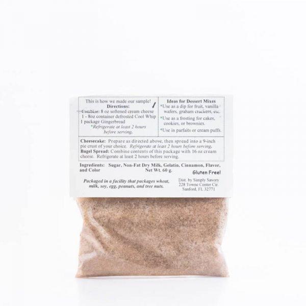 Gingerbread Dessert Mix Packet - Back