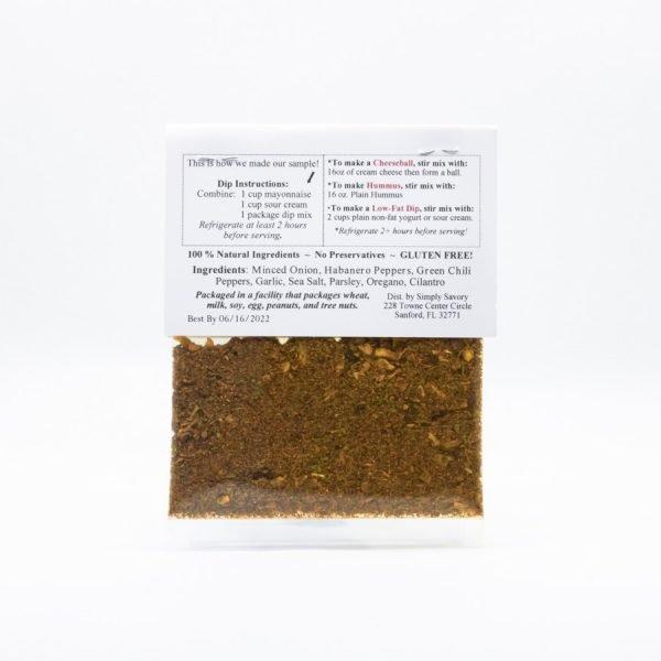Habanero Heat Wave Dip Mix Packet Back