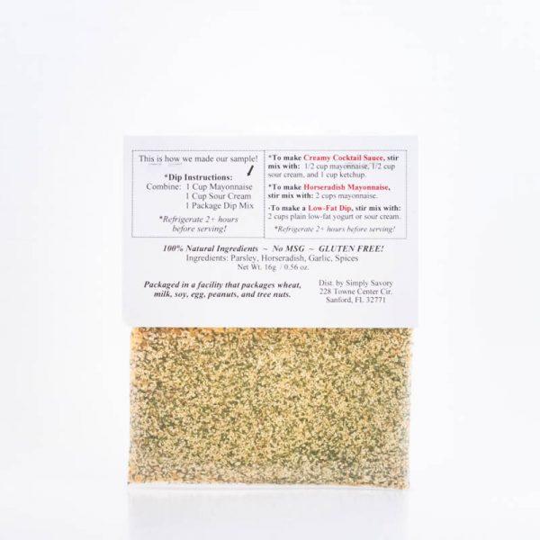 Horseradish Heaven Dip Mix Packet Back