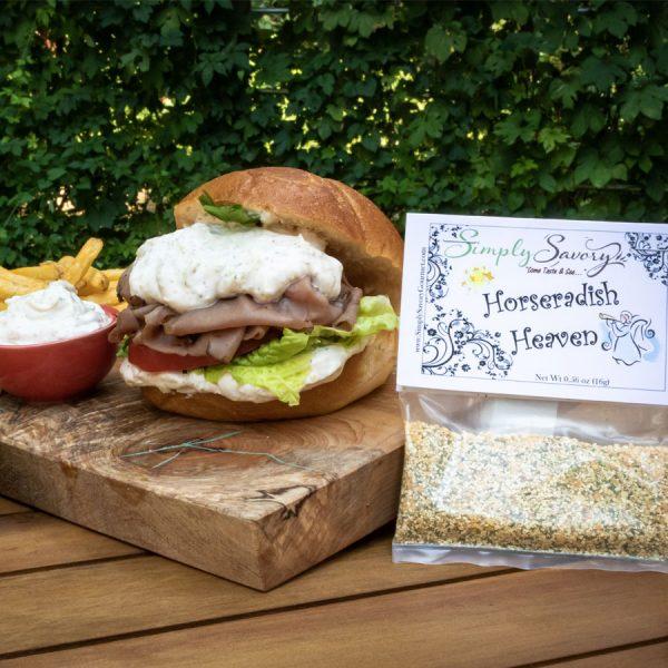 Horseradish Heaven Dip Prepared on Roast Beef Sandwich and Fries