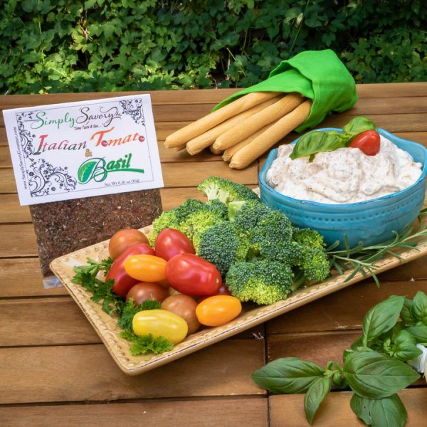 Italian Tomato and Basil Dip Prepared with Vegetables