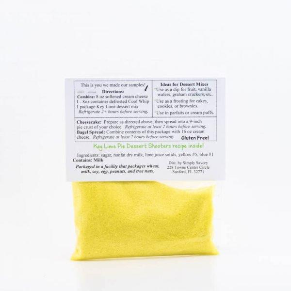 Key Lime Pie Dessert Mix Packet - Back