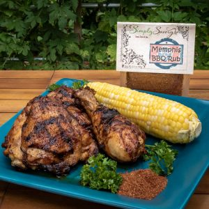Memphis BBQ Rub Prepared on Chicken with Corn