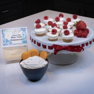 Sugar Free New York Cheesecake Dessert Mix Prepared as a dip and mini cheesecakes