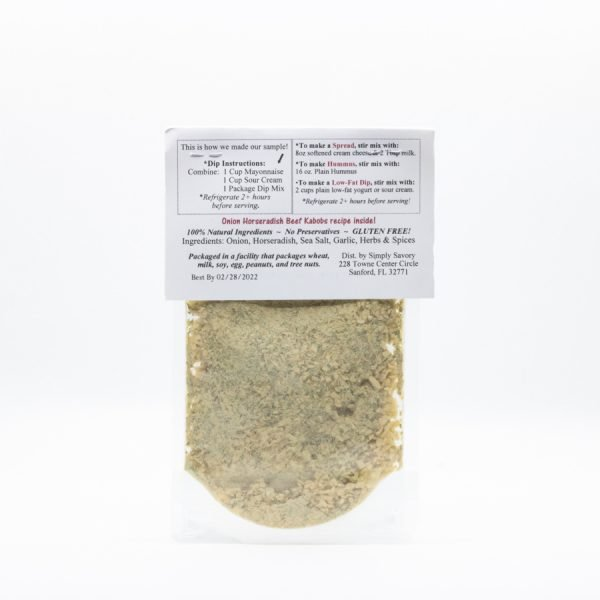 Onion Horseradish Dip Mix Packet - Back