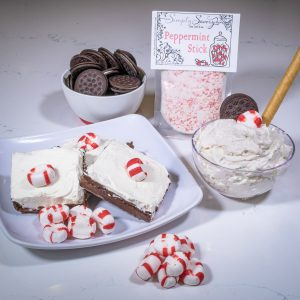 Peppermint Stick Dessert Mix Prepared as a dip and on brownies
