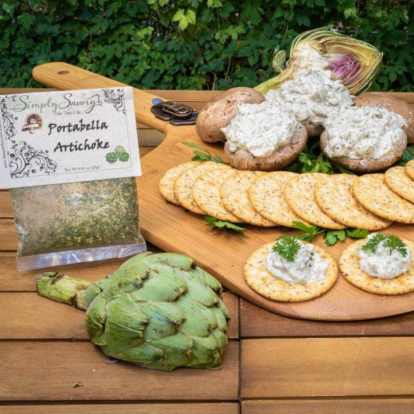 Portabella Artichoke Dip Prepared with Mushrooms and Crackers