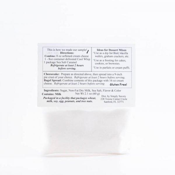 Sea Salt Caramel Dessert Mix Packet - Back