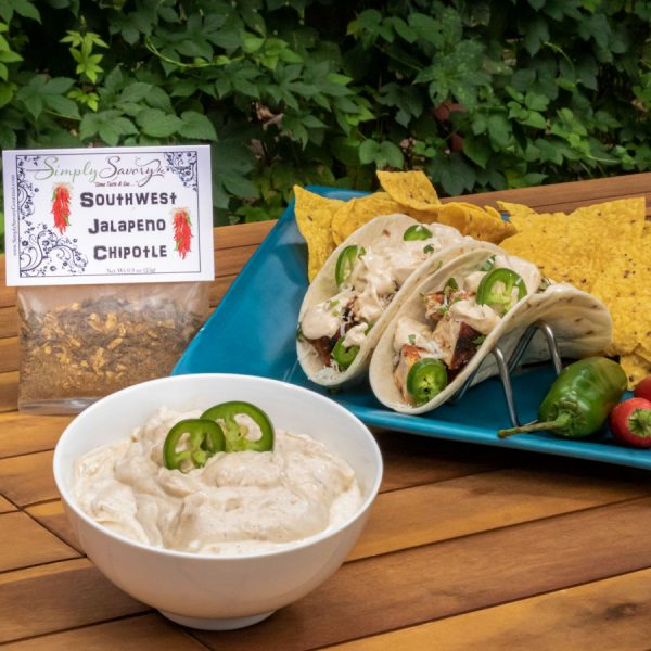 Southwest Jalapeno Chipotle Dip Prepared with Chips and on Tacos