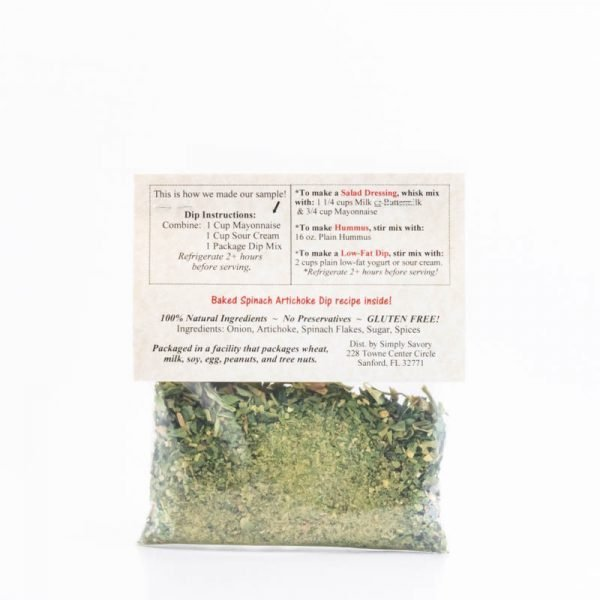 Spinach Artichoke Dip Mix Packet - Back
