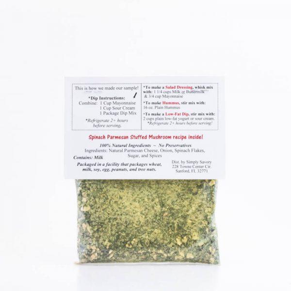 Spinach Parmesan Dip Mix Packet - Back