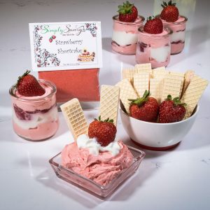 Strawberry Shortcake Prepared Dessert Dip and parfait with Wafers, strawberries