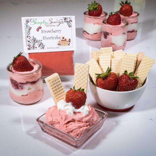 Strawberry Shortcake Prepared Dessert Dip and parfait with Wafers, strawberries