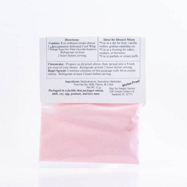 Sugar Free White Chocolate Raspberry Dessert Mix Packet - back